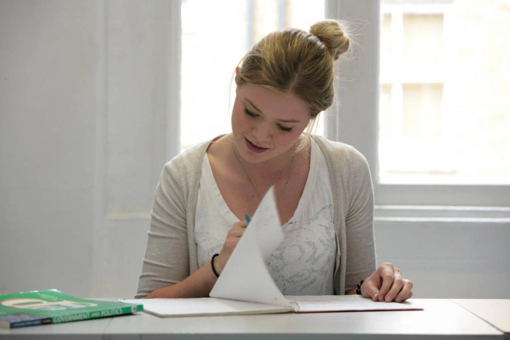 Student studying for her A-Levels